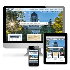 Mobile phone displaying Maine.gov mobile website